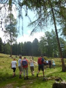 Beim Wandern auf der Feldthurner Alm